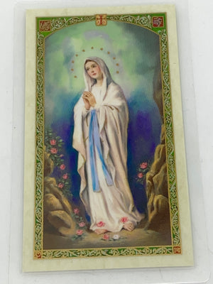 Our Lady of Lourdes Laminated Holy Card (Plastic Covered) - Unique Catholic Gifts