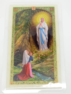 Our Lady of Lourdes  with Bernadette Laminated Holy Card (Plastic Covered) - Unique Catholic Gifts