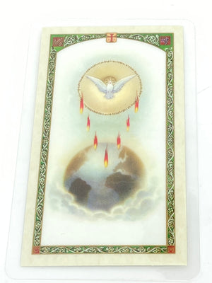 Holy Spirit Laminated Holy Card (Plastic Covered) - Unique Catholic Gifts