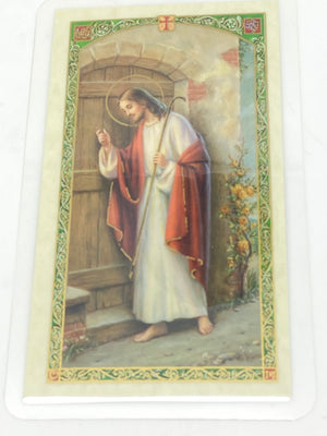 Stand at the Door Laminated Holy Card (Plastic Covered) - Unique Catholic Gifts