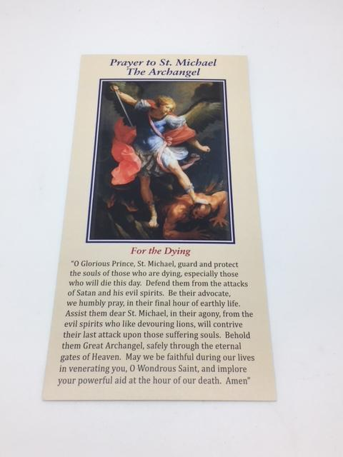 Prayer to St. Michael for the Dying (card) - Unique Catholic Gifts