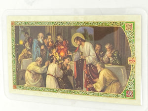 Grace Before Meals Prayer Laminated Holy Card (Plastic Covered) - Unique Catholic Gifts