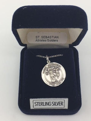 Sterling Silver St. Sebastian Round Medal - Unique Catholic Gifts
