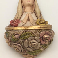 "Rosa Mystica Holy Water Font (6"") - Unique Catholic Gifts"