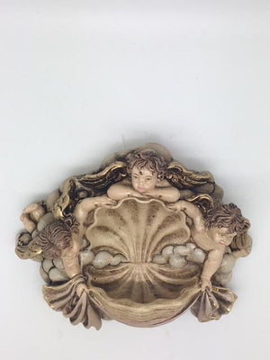 Angels on a Sea Shell Holy Water Font (5 1/2 x 4 1/2