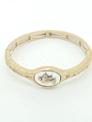 Faith, Hope and Love Stretch Hand Hammered Bangle - Unique Catholic Gifts