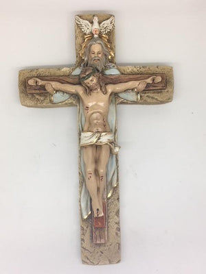 Holy Trinity Hand Painted Cross Crucifix (10 1/2