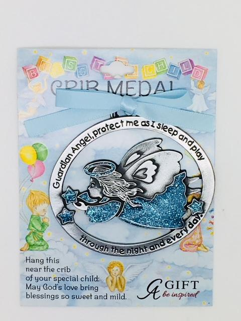 Guardian Angel Crib Medal Blue - Unique Catholic Gifts