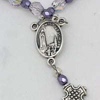 Fatima Rosary Czech Fire-Polished  Coated Lavender glass bead (6mm)
