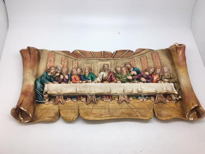 Last Supper Plaque Hand Painted Unique (15 x 7