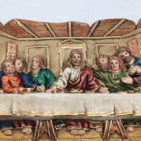 "Last Supper Plaque Hand Painted Unique (15 x 7"") - Unique Catholic Gifts"