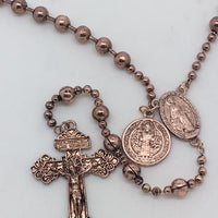 Copper-tone Metal Bead Rosary with Miraculous Medal and St. Benedict medal. - Unique Catholic Gifts