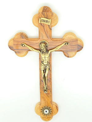 Holy Land Wall Crucifix Olive Wood with a Relic 8 1/4