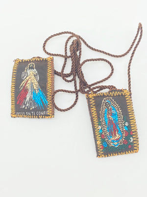Brown Scapular with Our Lady of Guadalupe/Divine Mercy - Unique Catholic Gifts