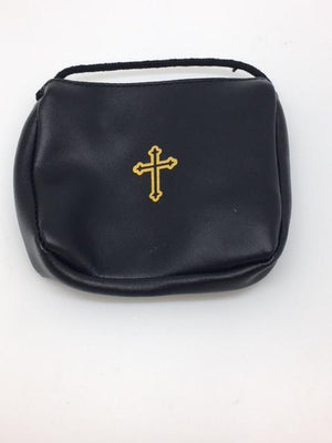 Black Leather Pyx Burse (pouch) with string. Large - Unique Catholic Gifts