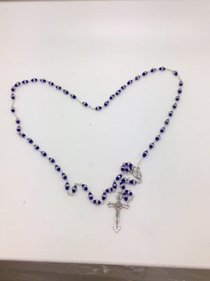 Dark Blue Rosary with Glass Rondelle Beads - Unique Catholic Gifts