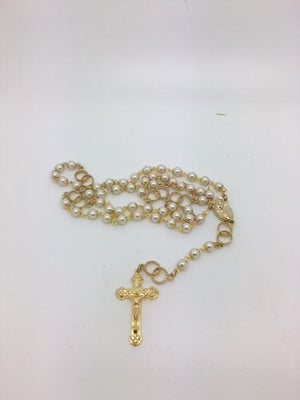 Wedding Rosary White Pearls Gold Capped