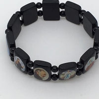 Brazilian Wood Bracelet (Jesus, Mary and Saints) (Black) - Unique Catholic Gifts