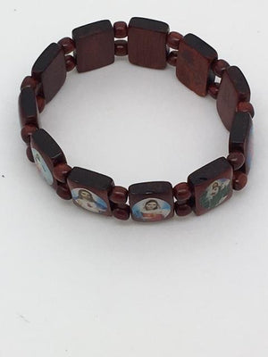 Brazilian Wood Bracelet (Jesus, Mary and Saints) (Red) - Unique Catholic Gifts