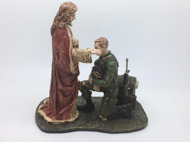 "Soldier receiving a Blessing Statue (7 1/2"" x 7 1/4 x 4"") - Unique Catholic Gifts"