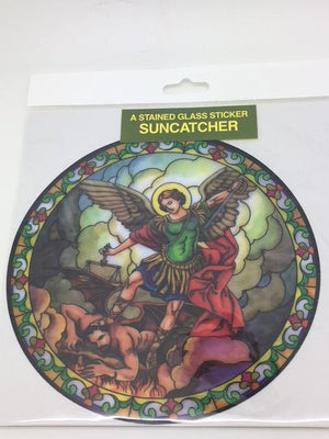 Catholic Stained Glass Sticker Suncatcher St Michael the Archangel - Unique Catholic Gifts