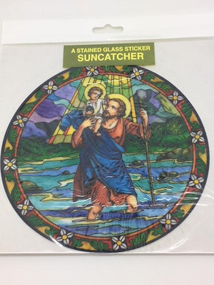 Catholic Stained Glass Sticker Suncatcher St Christopher