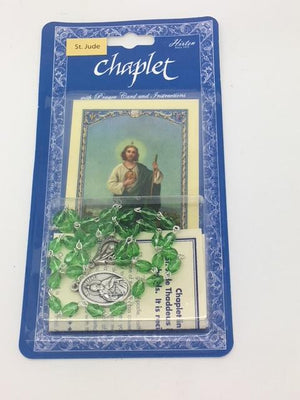 Saint Jude Deluxe Chaplet with Green Glass Beads