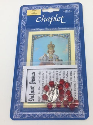 Infant of Prague Deluxe Chaplet with Red Glass Beads - Unique Catholic Gifts