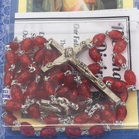 Divine Mercy Deluxe Chaplet with Red Glass Beads - Unique Catholic Gifts