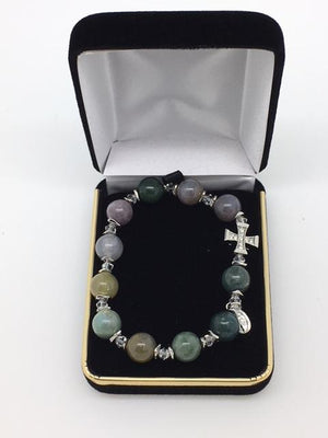 Genuine Multicolor Onyx Rosary Bracelet (10mm) - Unique Catholic Gifts