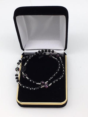 Black Genuine Crystal Twist Rosary Bracelet (4mm)