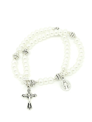 White Glass Pearl Wrist Rosary Five Decade - Unique Catholic Gifts