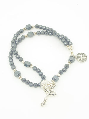 Hematite Wrist Rosary Five Decade Bracelet - Unique Catholic Gifts