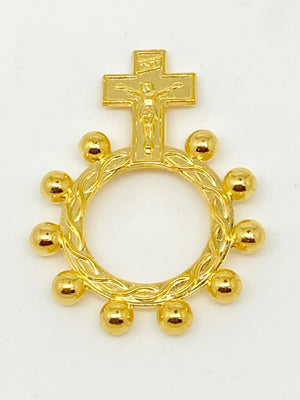 Gold Crucifix Finger Rosary Ring - Unique Catholic Gifts