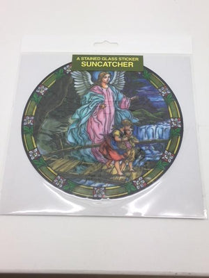 Catholic Stained Glass Sticker Suncatcher Guardian Angel