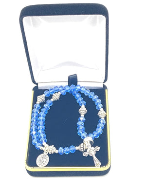 Blue Crystal Wrist Rosary - Unique Catholic Gifts