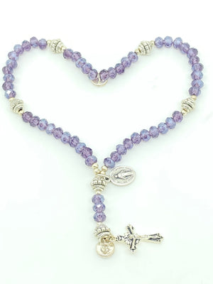 Purple Crystal Wrist Rosary - Unique Catholic Gifts