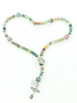 Fancy Agate Natural Stone Wrist Rosary - Unique Catholic Gifts