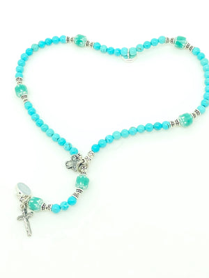 Genuine Turquoise and Czech Glass Wrist Rosary - Unique Catholic Gifts