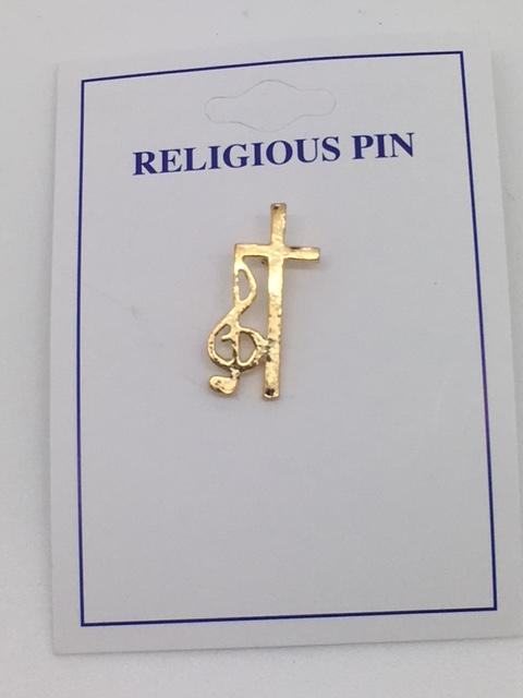 Cross with Music Note Clef Pin (Gold Plated) - Unique Catholic Gifts