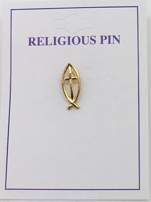 Cross with Fish Emblem Pin (gold Plated)
