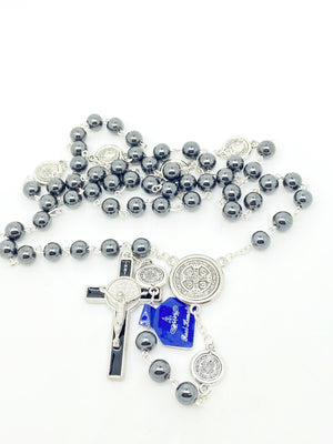 St. Benedict Hematite Rosary (8mm) - Unique Catholic Gifts