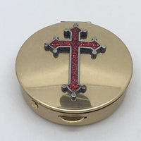 "Pyx Red Epoxy Cross on Brass (2"") Med - Unique Catholic Gifts"