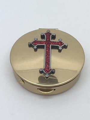 Pyx Red Epoxy Cross on Brass (2
