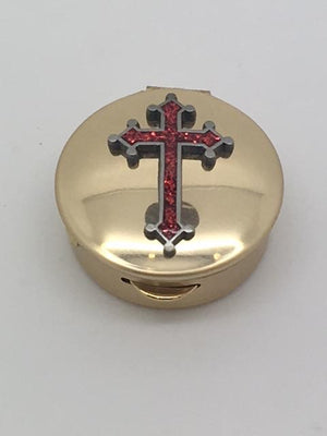 Pyx Red Epoxy Cross on Brass (1 1/2
