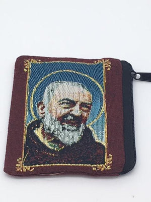 St. Padre Pio Embroidered Rosary Pouch - Unique Catholic Gifts