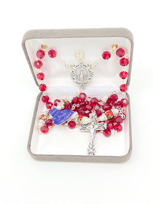 Red Genuine Crystal and Cloisonné Rondelle Rosary - Unique Catholic Gifts