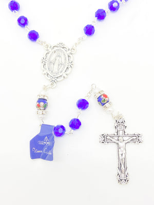 Blue Genuine Crystal and Cloisonné Rondelle Rosary - Unique Catholic Gifts