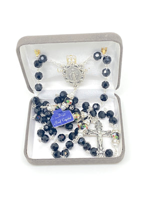 Black Genuine Crystal and Cloisonné Rondelle Rosary - Unique Catholic Gifts