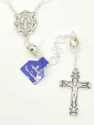 Clear Genuine Crystal and Cloisonné Rondelle Rosary - Unique Catholic Gifts